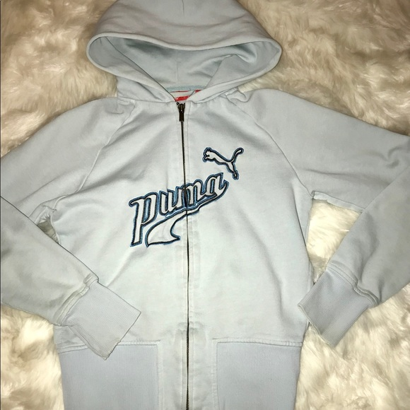 df035bab01a3f Vintage Puma light blue zip up hoodie Sz Small